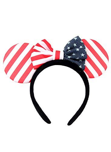 Independence Day Stirnband Mickey Minnie Ohrschleife Stirnband Mickey Mouse Haarspange Mode Haarbänder Haarband Gr. Einheitsgröße, gestreift
