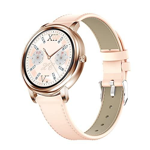 Frauen BerüHren Intelligente Uhr Smart Watch, IP67 Wasserdichte Damen Sportuhren Herzfrequenz/Blutdruckmonitor Call Message Reminder Custom-Stil, FüR Android/iOS Te(Size:Gold,Color:Ledergürtel)