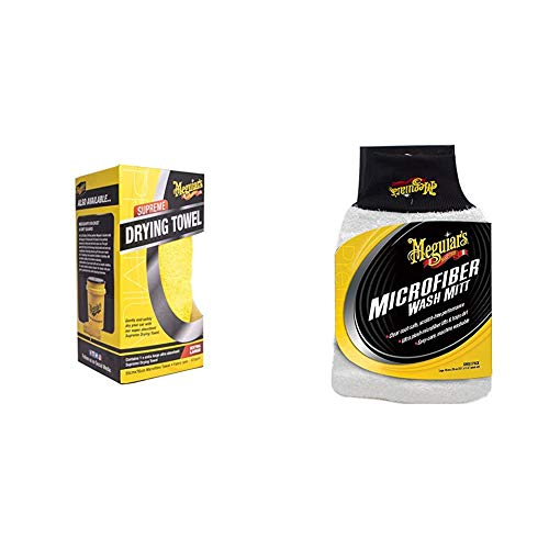 Meguiar's X1802EU Supreme Drying Towel Mikrofasertuch & X3002EU Microfibre Wash Mitt Mikrofaser-Waschhandschuh