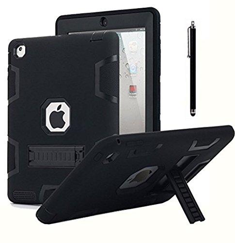 AICase Kickstand Funda iPad 2,iPad 3,iPad 4 resistente a los golpes de alto impacto, caucho resistente, funda protectora de armadura híbrida robusta de tres capas con lápiz óptico(negro)