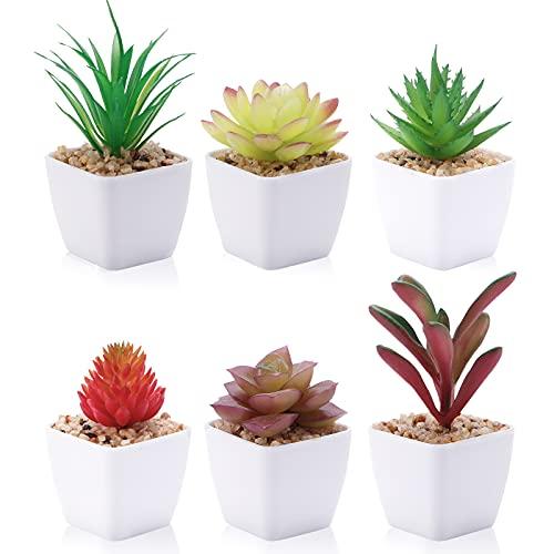 CEWOR 6pcs Artificial Succulents Plants Fake Mini Potted Succulent Plant in Pots...