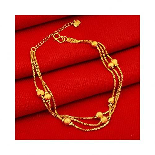 QGGESY Tobillera de Oro para Mujer Flat Mariner, Pulsera de Cadena para el Tobillo para Dama chapada en Oro Real, joyería descalza en la Playa en Verano,F
