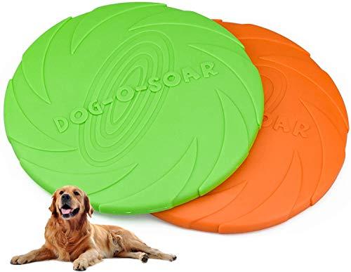 TUAKIMCE 2 Stück Hunde-Frisbee, Rrubber Frisbee Pet Flying Disc, weich unzerstörbares Hundespielzeug, Hunde-Kauspielzeug für interaktiven Spaß im Freien, Fangen & Spielen (Orange + Grün)