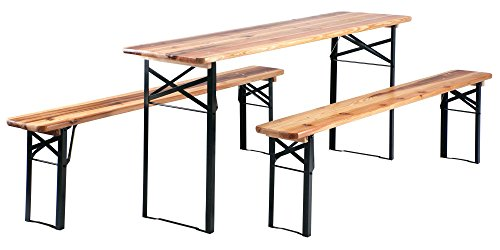 Stagecaptain Hirschgarten Bierzeltgarnitur 177 cm Länge (1x Tisch, 2 x Stühle, Holz, Klappbar) Natur