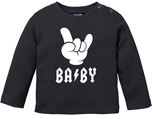 MoonWorks® Baby Langarmshirt Babyshirt Baby Hardrock Heavy Metal Jungen Mädchen Shirt schwarz 80/86 (10-15 Monate)