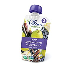 Plum Organics Stage 2, Organic Baby Food, Pear, Purple Carrot and Blueberry, 4.0 oz
