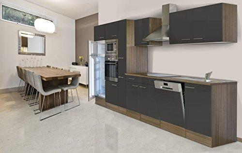 Respekta inbouw keuken keukenblok 370 cm eiken York imitatie grijs oven Ceran magnetron apothekerskast vaatwasser