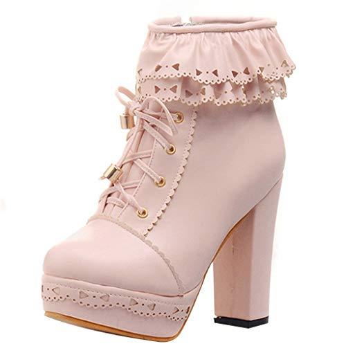 Maleya Damenstiefel Lolita Sweet Round Toe Schnürstiefeletten mit hohem Absatz und Schnee Schuhe Knöchel Kurze Stiefel Platform High Heels Knee Boots Long Boots Ankle Lässig Kniehohe Stiefel