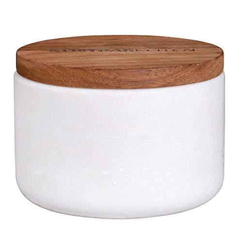Räder Dining marmer doos met houten deksel Dia:8cm Hoogte: 5,5cm