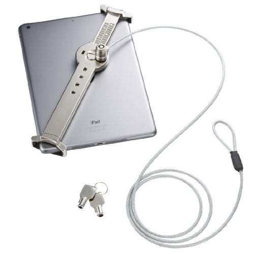 サンワダイレクト タブレット・iPad セキュリティワイヤー&取付金具 鍵2個付 7インチ~10.5インチ対応 盗難防止 シルバー 200-SL019SV