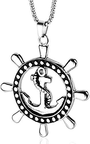 NC66 Colgante de Ancla de Barco de Cuerda de Acero Inoxidable, Colgante de timón de Barco Pirata Retro, Collar de Titanio para Hombre, joyería