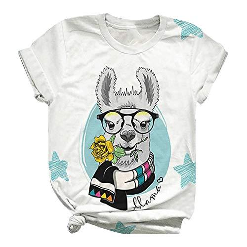 XTBL Kurzarm Top Damen T-Shirt Ostern Frohe Ostern Osterhase Tierbedruckte Damen T-Shirt Kurzarmbluse mit Rundhalsbluse Osterhase Shirt