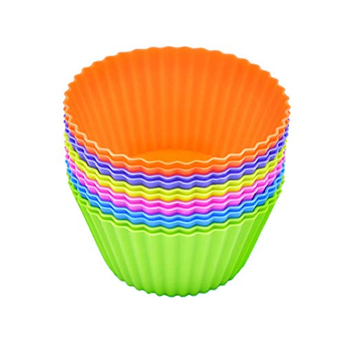 Silicone Baking Cups Cupcake Liners 12Pack: Reusable Cake Cups Set, Silicone Molds, Non-Stick Muffin Liners for Halloween Christmas, Food Grade Silicone Cupcake Liners