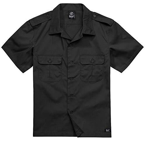 Brandit Ripstop Manga 1/2 Hombre Camisa Manga Corta Negro 4XL, 80% poliéster, 20% algodón, Regular