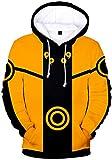 PANOZON Sudadera Hombre Naruto Impresión de Anime Japonés Chaqueta Deportiva con Capucha Naruto Uzumaki (M, Amarillo 094)