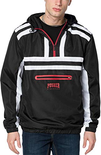 Pusher Apparel Herren Pusher Authentic Windbreaker, Black/White, L