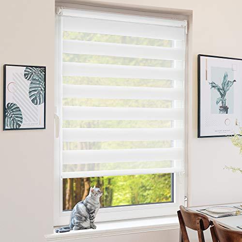 BondFree Doppelrollo Klemmfix ohne Bohren, Duo Rollos für Fenster und Tür, 95x120cm (Stoffbreite 91cm) Weiß, Fensterrollo Seitenzugrollo Sichtschutz & Sonnenschutz