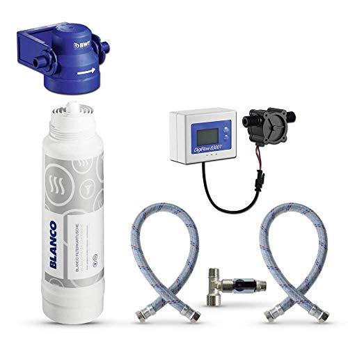Untertisch-Wasserfilter: BWT Mehrstufen-Filterkartusche für BLANCO FONTAS 2 || 525273, Filterkopf von BWT, Filterwechselanzeige Digiflow, Flexschlauch, Eckventil-Adapter Ideal für Kaffeemaschine