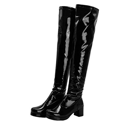 Birdsight Damen Lackstiefel Overknee Stiefel mit Blockabsatz und Plateau Thigh High Boots Reißverschluss Langschaftstiefel Winter Schuhe (Schwarz, 44)