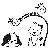 車の装飾 15CM * 14.1CMかわいい犬ようこそビニールカーアートステッカーデカールブラック/シルバー ビニールステッカー (Color Name : Black)