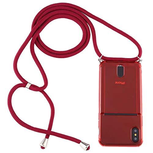 BEIJING  PROTECTIVECOVER+ / para Compatible with Compatible with iPhone XS MAX Transparent TPU Funda Protectora con cordón y Ranura para Tarjeta, Fashion Phone Funda para Protector (Color : Rojo)