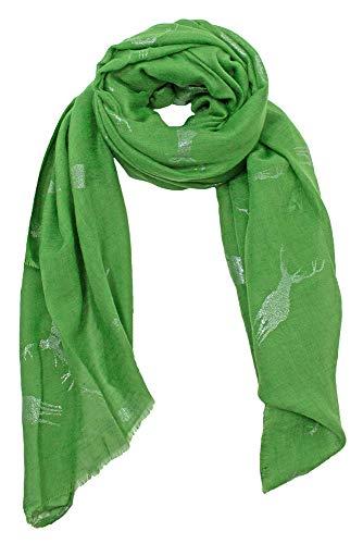 Preisvergleich Produktbild Trachten Schal uni mit Glitter Hirsch - Grün