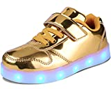 MILEADER LED Shoes for Girls and Boys,Gold USB Charging Flashing Sneakers for Kids,Golden Light Up Shoes Fashion LED Sports Sneakers for Youth Shoes Unisex - 37