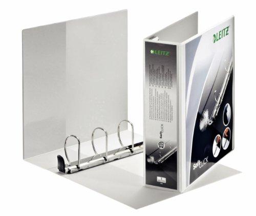 Leitz 42050001 Ringbuch SoftClick, A4, 2 Außentaschen, 4 Ringe, 60 mm, weiss