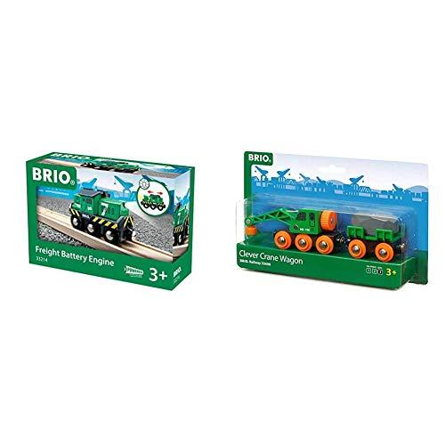 BRIO Bahn 33214 - Batterie-Frachtlok & Bahn 33698 - Grüner Kranwagen mit Anhänger und Fracht