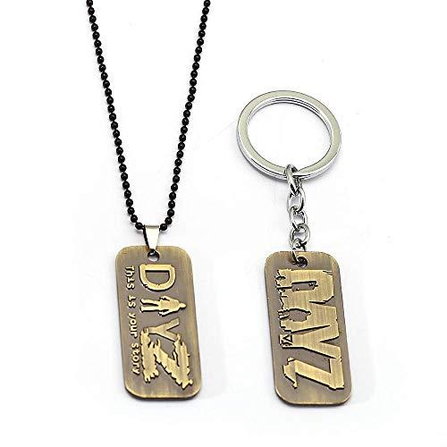 XIUWOUG Spiel DayZ Schlüsselbund Tag Z Antike Metall Halskette Perlen Kette Legierung Schlüsselring Anhänger Schlüsselkette Chaveiro Men Schmuck