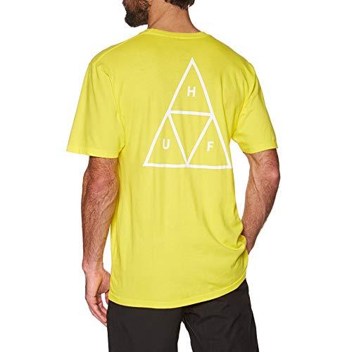 HUF Essentials, Camiseta para Hombre,Small,Blazing Yellow