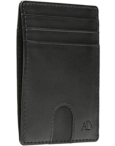 Vegan Leather Slim Minimalist Wallets For Men - Cruelty Free Non Leather Front Pocket Thin Mens Wallet RFID Credit Card Holder Fathers Day Gifts For Him