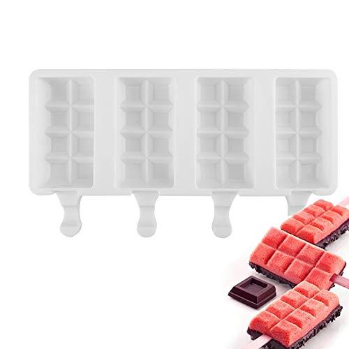 XUNMAIFBT Moules pour Glaces 4 Fabricants de Popsicles, Outil Gadget de Cuisine Ice Pop Mold, pour Popsicle Crème Boisson Glacé et DIY Familial