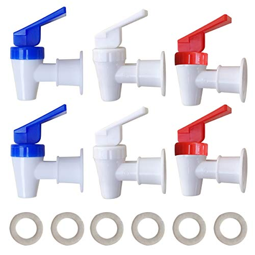 Replacement Cooler Faucet - 2 White and 2 Red and 2 Blue Water Dispenser Tap Set - Internal Thread Plastic Spigot.