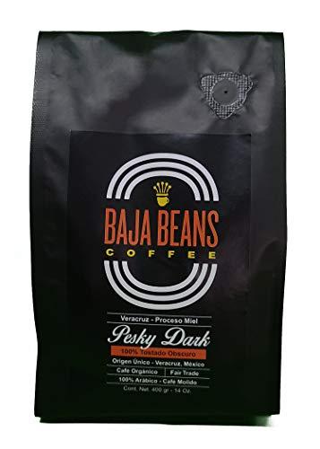 Baja Beans Coffee, Pesky Dark, Café Espresso, Café Honey, Café Proceso Miel, Premium Gourmet Coffee, Café de Especialidad, Café Reserva Mexicano, Café de Veracruz, Café Molido, Tostado Oscuro, 400 g.