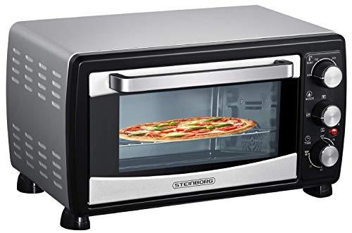 Mini Backofen 20 Liter | Pizza-Ofen | Minibackofen | 3in1 Backofen mit Umluft | herausnehmbares Krümmelblech | 100°C - 230°C | 1380 W | Ober-/Unterhitze | Edelstahl | 60 Min. Timer