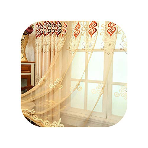 FAT BIG CAT Simple Jacquard Fabric Love Embroidery Blackout Curtain European Tulle Curtains Bedroom Living Room Bay Window Home Decor M038-4,Color 03 Tulle,W100CM X L200CM,Rod Pocket Process