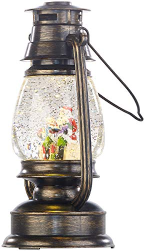 infactory Laterne Weihnachten: Deko-LED-Laterne im Öllampen-Look, mit Schneewirbel und Weihnachtsmann (LED Schneekugel)