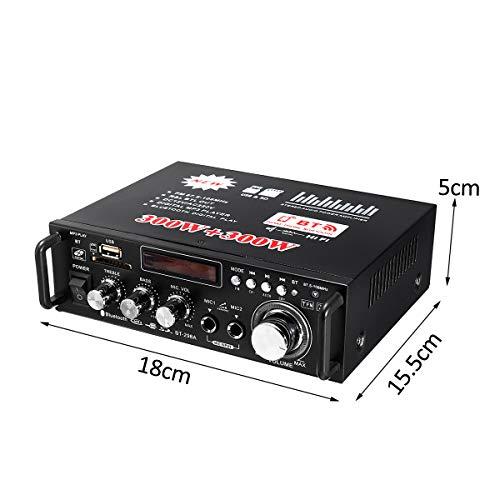 2ch高出力オーディオアンプコンパクトサイズ実効最大出力300W+300WBluetooth接続対応USB/SDカード再生可Hi-Fiステレオパワーアンプマイク入力可12V5Aアダプター付属FMTLP298A