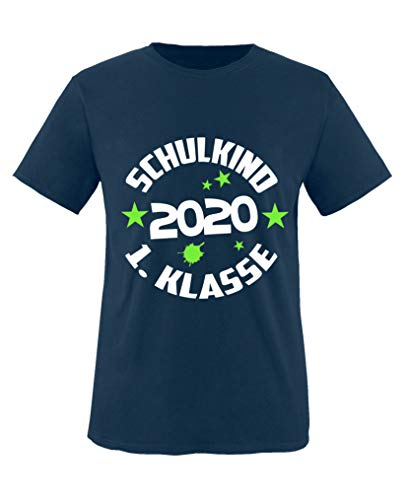 Comedy Shirts - Schulkind 2020 1. Klasse - Jungen T-Shirt - Navy/Weiss-Neongrün Gr. 134/146