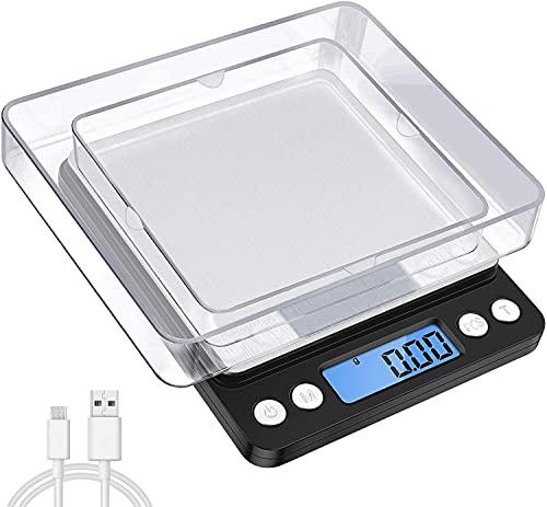 oFami Balance de Précision, 3kg/0.1g ou 500g/0.01g, Mini Balance de Cuisine, Balance de Précision Cuisine avec Fonction Tare et Compte, Écran LCD Rétroéclairé, Chargement USB(Acier Inoxydable&Noir)