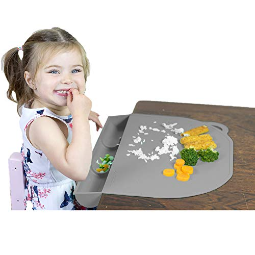 Food Catching Baby Placemat with Suction - UpwardBaby Gray Silicone Placemats for Kids Babies and Toddlers - Clean Mealtimes at Home Or for Restaurants - See Video Demonstration