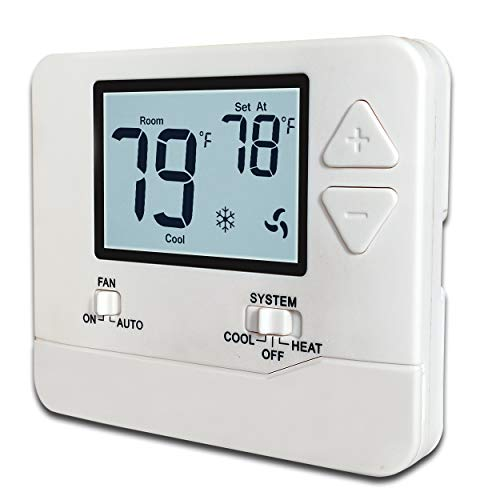 Heagstat H701 Non-Programmable Electronic Thermostat, Up To 1 Heat/1 Cool, with 4.5 sq. Inch White Display