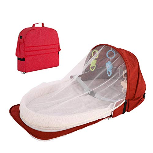 Portable Baby Bassinet,Portable Rocking Bassinet,Quick Foldable Bassinet Travel Crib - Snuggle Nest Adventure Portable Infant Sleeper Baby Bed | Travel Bed & Bassinet | Canopy And Bug Net Included