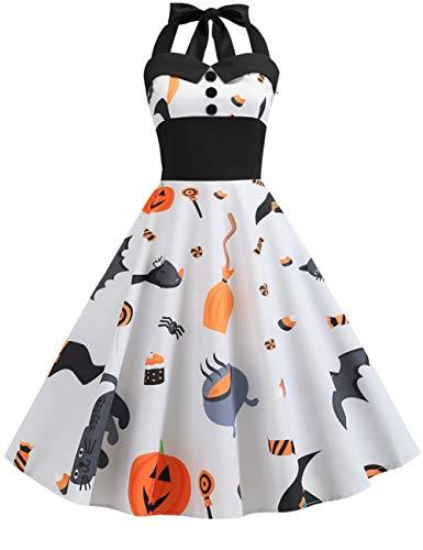 FeelinGirl Halloween Vintage Kleid 1950er Elegante Retro Rockabilly Kleider Cocktailkleid Faltenrock Cocktail Festliche Kleider Frauen...