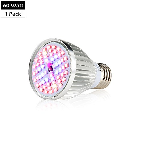 CREATE BRIGHT Led Grow Light Bulb, 60W Plant Light Bulb Full Spectrum Led Grow Bulb E26 Grow Plant Light for Indoor Plants,Hydroponics Greenhouse Organic,Pack of 1