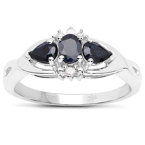 La Colección de Anillos Zafiro : 9ct Oro Blanco de Zafiro y Diamantes, Anillo de compromiso Talla del anillo 9