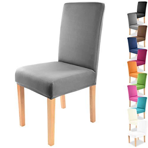 """Gräfenstayn® Funda para sillas elásticas Charles - respaldos Redondos y angulares - Ajuste bi-elástico con Junta Oeko-Tex Standard 100:""""Confianza verificada (Antracita)"""