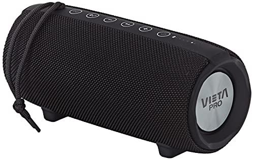 Vieta Pro Upper 2 - Altavoz con Bluetooth 5.0, True Wireless, Micrófono, Radio FM, 10 horas de batería, Resistencia al agua IPX6, entrada auxiliar y botón directo al asistente virtual, Negro