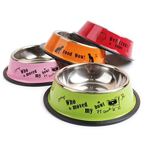 dispenser cibo gatti,Ciotola per animali domestici ciotola singola per stampa di vernice spray multicolore in acciaio inossidabile, ciotola ciotola per animali del fumetto-15 cm (colore casuale)